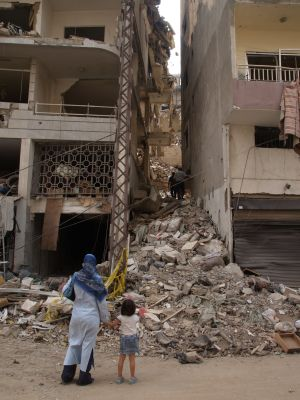Zničené budovy v Libanone