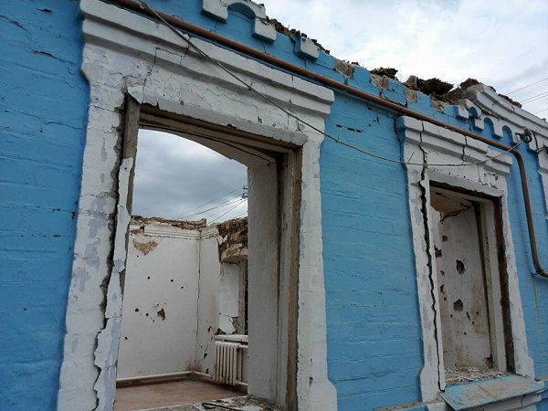 Zniceny dom na vychode Ukrajine